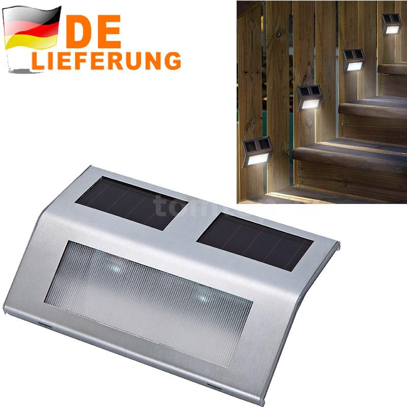 4pcs edelstahl solar licht lampe leuchte treppe stufen. Black Bedroom Furniture Sets. Home Design Ideas